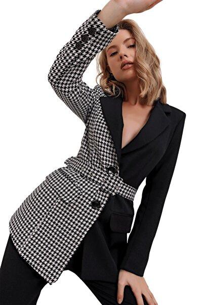 butikburuç Kadın Kazayağı Kruvaze Yaka Kemerli Ceket