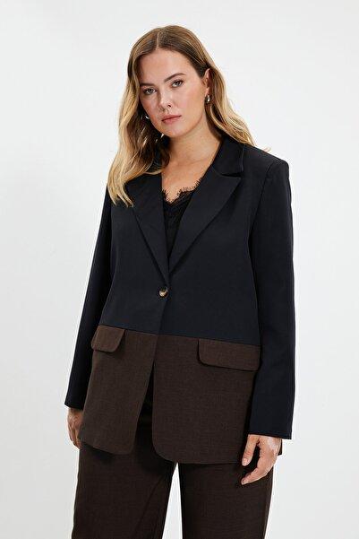 TRENDYOLMİLLA Kahverengi Renk Bloklu Blazer  Ceket TWOAW22CE0170