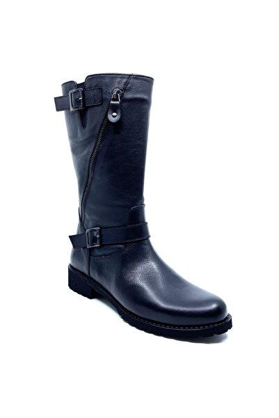 Fosco Hakiki Deri Siyah Fermuarlı Uzun Kadın Çizme Bot 5466181 01