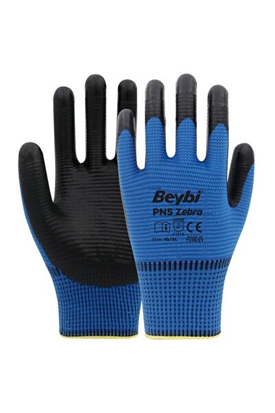 Beybi Pn5 Zebra Mavi Polyester Örme Nitril Eldiven