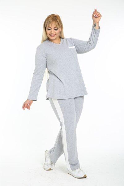 HERAXL Kadın Büyük Beden Gri Beyaz Cep Detaylı Eşofman Takımı