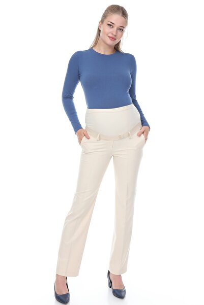 MİMBA Krem Rengi Klasik Hamile Kumaş Pantolonu