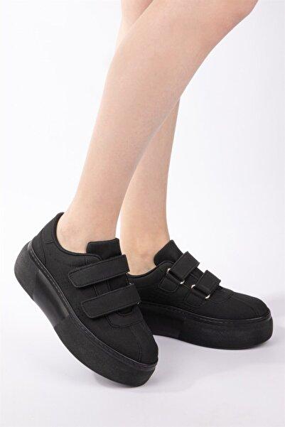 NAVYSIDE Kadın Siyah Nubuk Cırt Cırtlı Sneaker Yüksek Tabanlı Bantlı Spor Ayakkabı