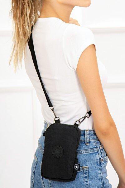 Av A Dos Kadın Siyah Su Geçirmez Krinkıl Mini Telefon Cüzdan Askılı Çapraz Omuz Bel Çanta