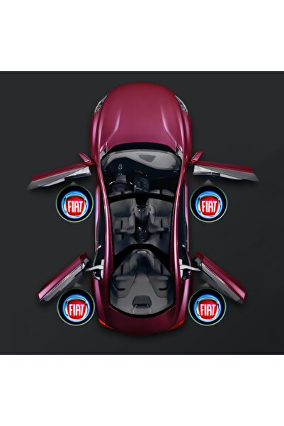 Waxen Fiat Kapı Altı Pilli Led Logo Hd Lens Karanlık Ve Mesafe Sensörlü Led Işıklı Lamba