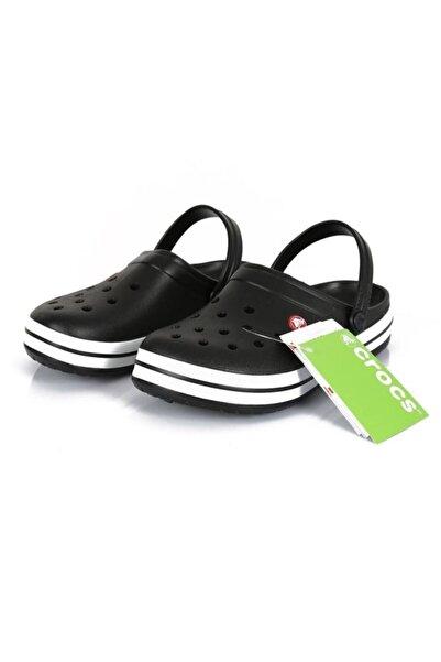 Crocs Siyah Unisex Crocband Kenarı Siyah Beyaz Çizgili Terlik
