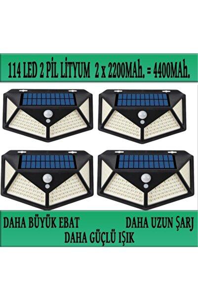 SpySoft Solar Güneş Enerjili Bahçe Lambası 114 Led 4lü Paket Bahçe Aplik Bahçe Lambası Bahçe Aydınlatma