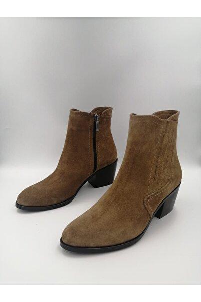 Tarz Topuklar Kadın Fermuarlı Süet Stiletto Bot Ayakkabı