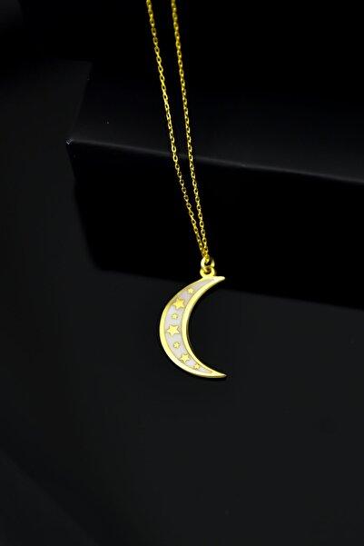 Papatya Silver 925 Ayar Gümüş Altın Kaplama Beyaz Mineli Yıldızlı Hilal Kolye