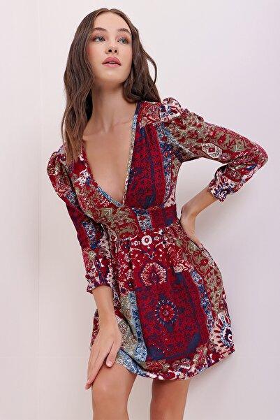 Trend Alaçatı Stili Kadın Vişne Karpuz Kollu Etnik Desenli Yumuşak Dokulu Elbise ALC-X7147