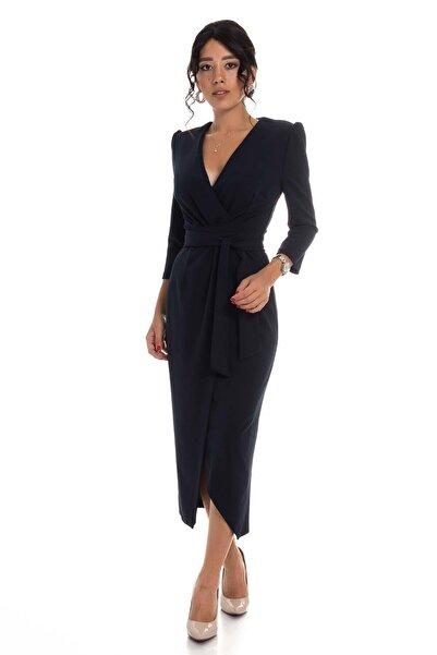 AYHAN Kadın Siyah Kruvaze Avelop Truvakar Krep Şık Elbise