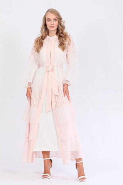 Orhan Beli Kuşaklı Puantiyeli Yakma Organze Abaya Elbise Ikili Takım - Pudra