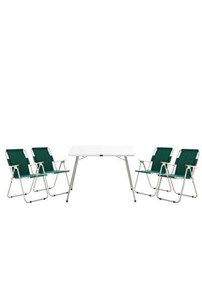 Byeren Byeren Piknik Seti -4*ağaç Kollu Piknik Sandalye Yeşil- 60*80 Piknik Masa Beyaz