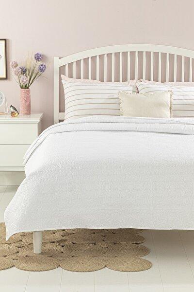 English Home Ivy Chic Çift Kişilik Çok Amaçlı Yatak Örtüsü 200x220 Cm Beyaz