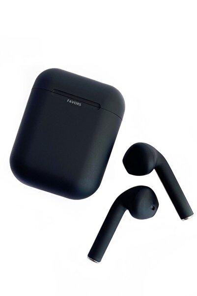 Favors Airpods 2. Nesil Siyah Bluetooth Kulaklık Ekstra Bass I12 Tws Apple Iphone 11 Pro Max Uyumlu