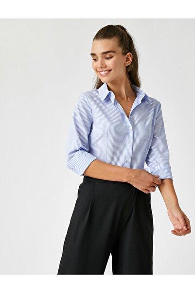 Koton Çizgili Uzun Kollu Klasik Yaka Basic Gömlek