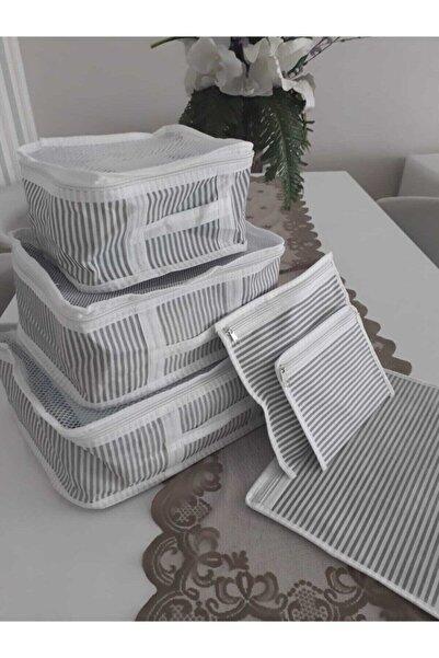 Kitch&Home Vivyan 6'lı Set Bavul Içi Düzenleyici, Bavul Organizer, Valiz Düzenleyici - Gri Çizgili