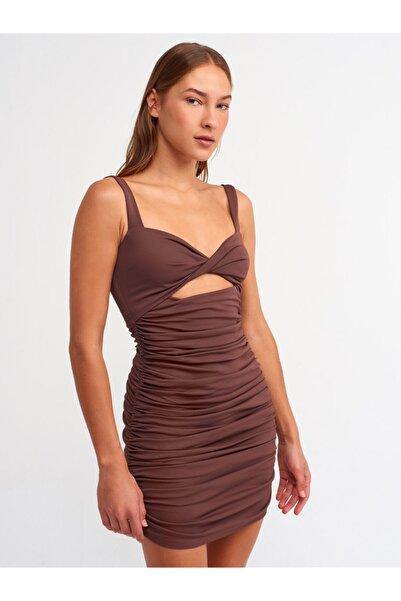 Dilvin 9100 Büzgü Detaylı Elbise-ç.kahve