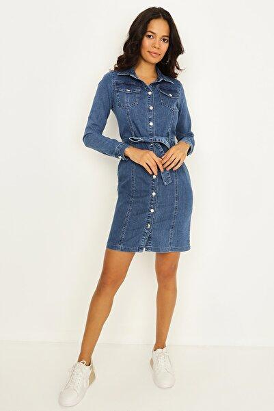 Select Moda Kadın Mavi Önden Çıtçıtlı Uzun Kollu Denim Elbise