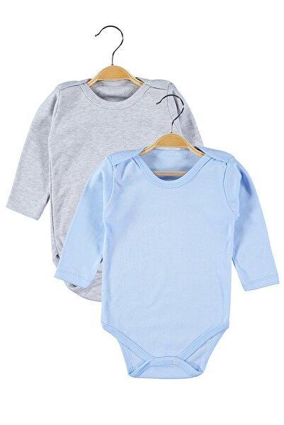 hepbaby Erkek Bebek Gri-mavi 2 Adet Uzun Kollu Bebek Body