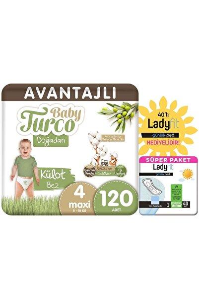 Baby Turco Doğadan Avantajlı Paket Külot Bez 4 Numara Maxi 120 Adet + Günlük Ped