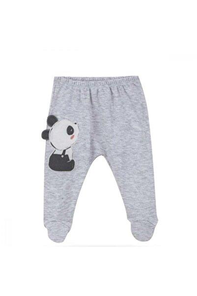 Bibaby Organik Pantolon Patikli Elegant Panda - Ekru - Somon