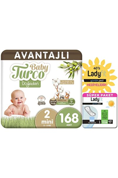 Baby Turco Doğadan Avantajlı Paket Bebek Bezi 2 Numara Mini 168 Adet + Günlük Ped