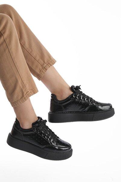 Marjin Kadın Siyah Rugan Kalın Taban Sneaker Ayakkabı Azin