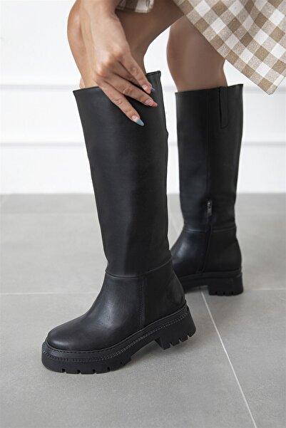 STRASWANS Elena Kadın Fermuar Detay Deri Çizme Siyah
