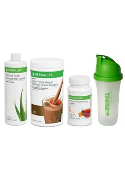 Herbalife Başlangıç Seti-2( 1 Çikolatalı Shake Limon-şeftali 50 gr Çay Aloe Konsantre Içecek Shaker)