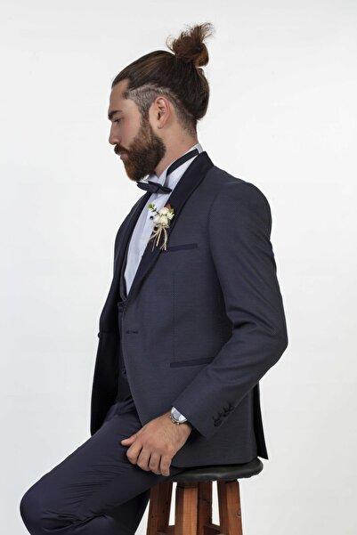 Moda Rabin Erkek Lacivert Puantiyeli Smokin Damatlık Takım Elbise Çıkma Yaka