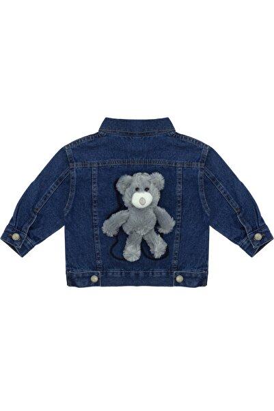 Kids Of Heart Gri Ayıcıklı Koyu Mavi Kot Ceket