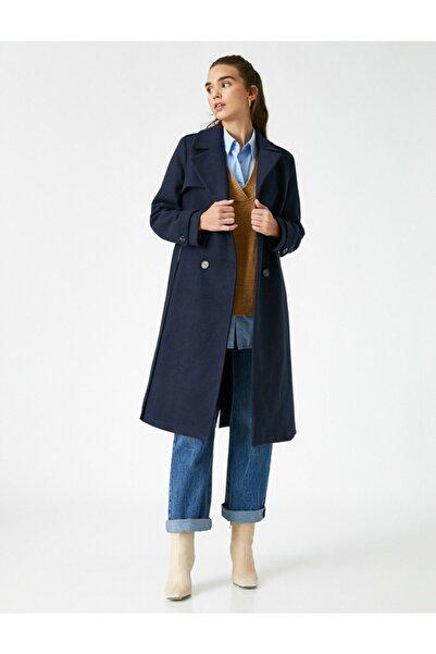 Koton Ceket Yaka Dügmeli Uzun Kaban