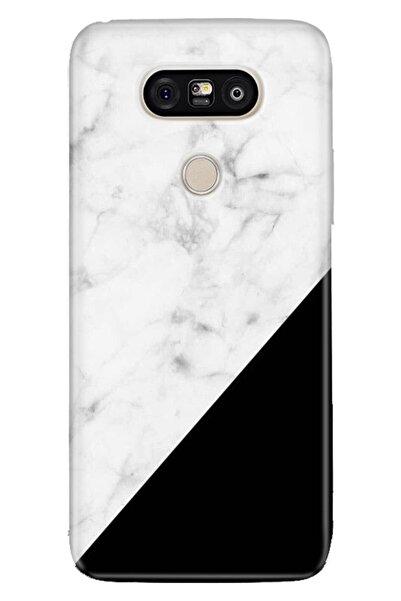 LG G5 Kılıf Pure Modern Desenli Silikon Siyah Beyaz Mermer