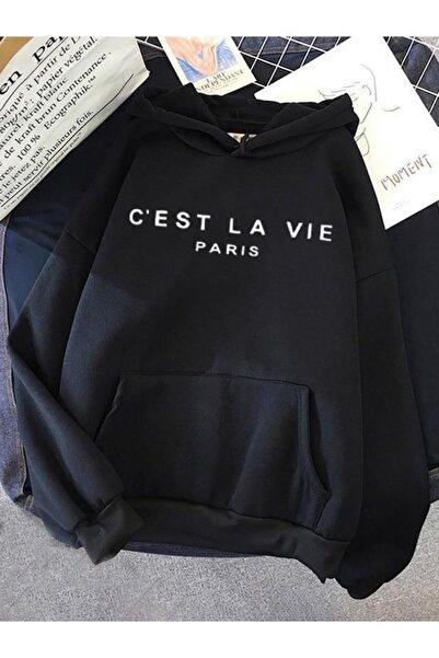 Oksit Lavie Paris Baskılı Pamuklu Unisex Oversize Sweatshirt