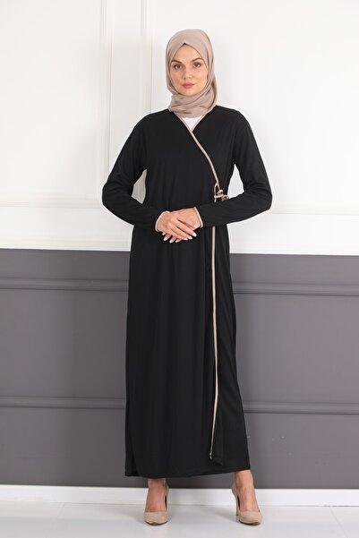 Feyza Fashion Kadın Yandan Bağlamalı Namaz Elbisesi Siyah