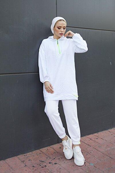 festmoda Kadın Neon Fermuarlı Beyaz İkili Takım