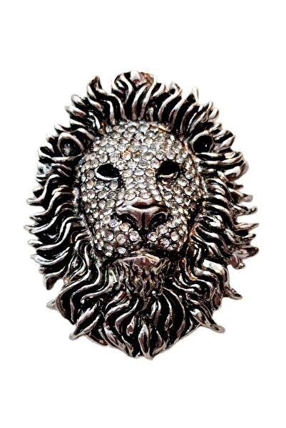 Mixperi Gümüş Rengi Taşlı Mıknatıslı Aslan Magneti
