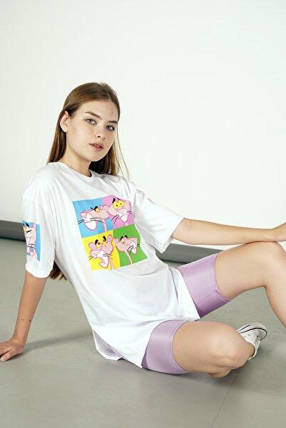 Yare Pembe Panter Baskılı Yandan Yırtmaçlı Yarım Kol Bisiklet Yaka T-shirt