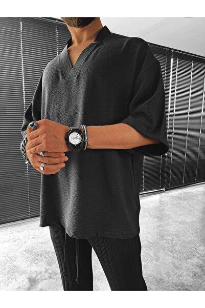 ablukaonline Erkek Oversize V Yaka T-shirt Siyah