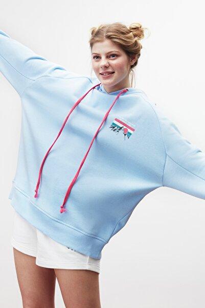 GRIMELANGE Polınıa Kadın Önü Baskılı Kapüşonlu Sweatshirt Mavi