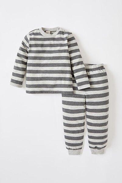 DeFacto Erkek Bebek Çizgi Desenli Uzun Kollu Pamuklupijama Takımı