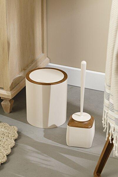 English Home Adela Banyo Seti 19x21,5 Cm+10x10x37 Cm Bej