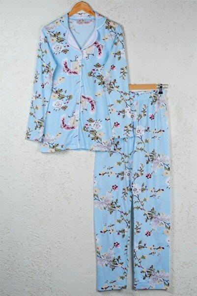 BSM Kadın Mavi Pamuklu Çiçekli Düğmeli Gömlek Pijama Takımı
