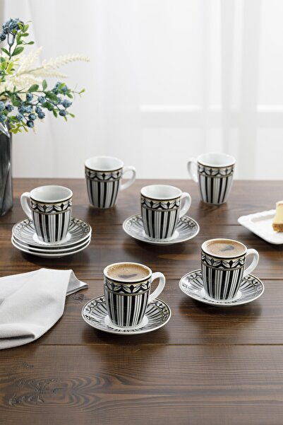 English Home Eldora Porselen 6'lı Kahve Fincan Takımı 100 ml Siyah - Beyaz