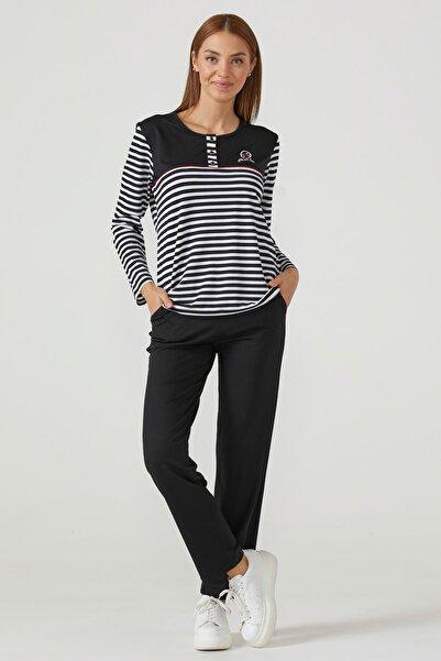 Sementa Kadın Çizgili Pijama Takım - Siyah