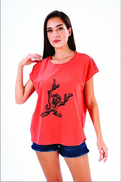 FINGER PRINT Tazmanya Canavarı Baskı Oversize Kadın T-shirt
