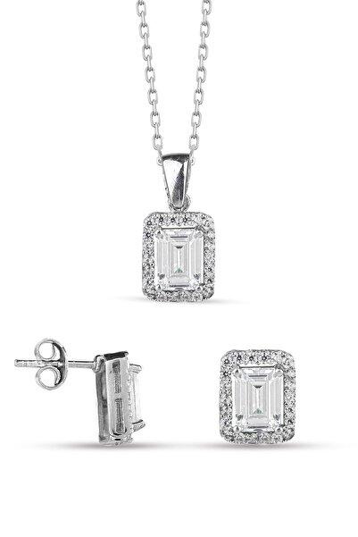 Miavi Silver 925 Ayar Gümüş Baget Taşlı Kolye Küpe Kombin