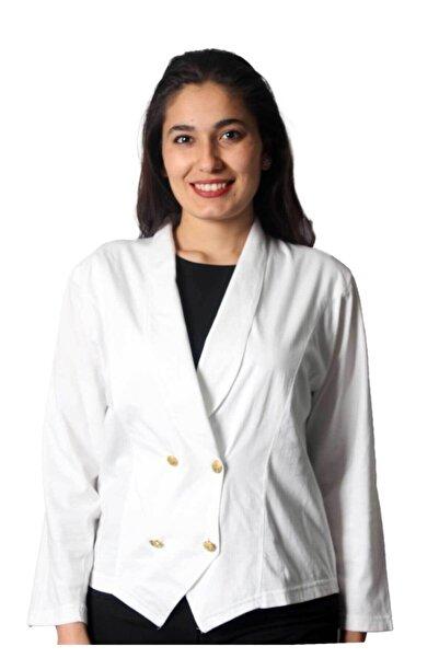Sude Aydark Kadın Beyaz Uzun Kol Kagi Penye Ceket 2002