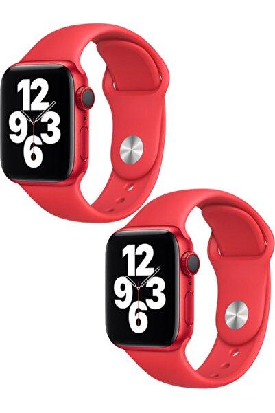 Apple Watch Nike Serisi 38 - 40 mm Klasik Spor Silikon Kordon 2'li Kırmızı Set